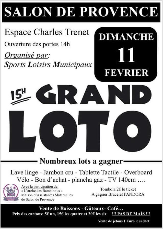 Grand loto organis par sports loisirs municipaux for Sport 2000 salon de provence